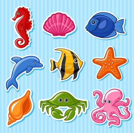 Illustration for Set drawn in a vector of marine animals. - Royalty Free Image