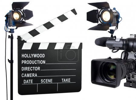Photo for Movie lights, video camera and camera slate isolated on white - Royalty Free Image