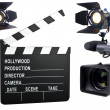 Movie lights, video camera and camera slate isolated on white