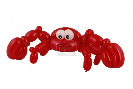Balloon crab sculpture isolated on white