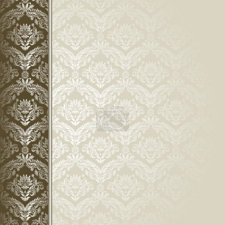 Illustration for Brown and beige background with flowers and leaves . - Royalty Free Image