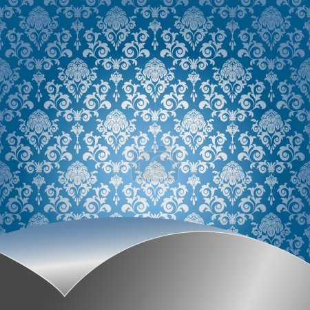 Illustration for Blue background with flowers and leaves and silver sheet . - Royalty Free Image
