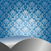 Blue background with flowers and leaves and silver sheet