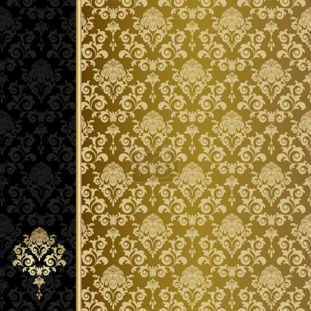 Illustration for Background with gold flowers and leaves - Royalty Free Image