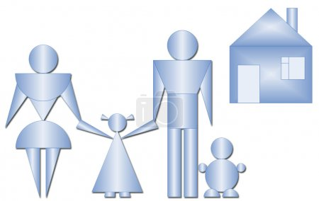 Photo for Family (mother, father, daughter and son) from geometric figures going home - Royalty Free Image