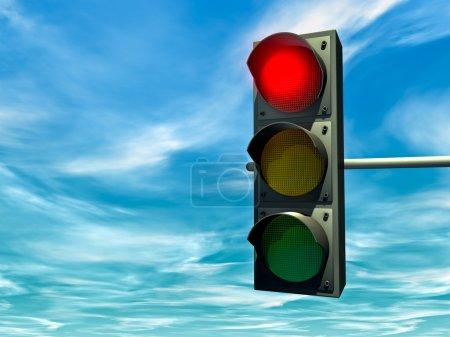 Photo pour Feu de circulation de ville avec un signal rouge - image libre de droit