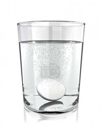 Photo for Tablet in a glass of water. 3D rendered. - Royalty Free Image
