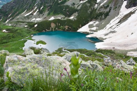 Mountain landscape with lake.