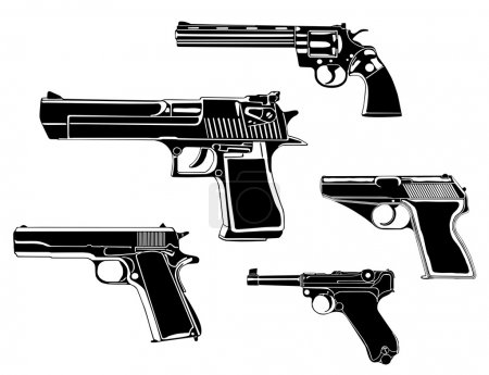 Several guns, old and modern, in the vector...