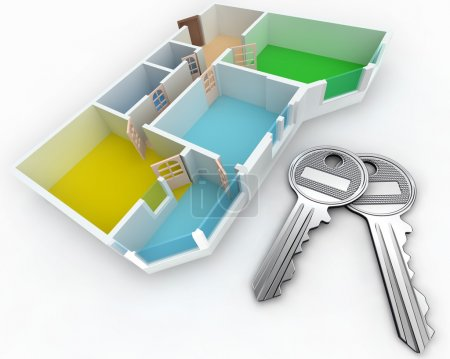 Photo for Schematic three-dimensional model of an apartment - Royalty Free Image