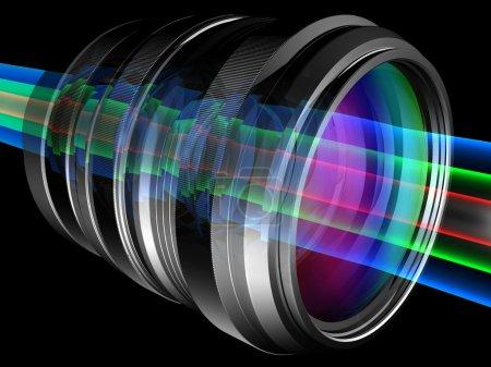 Foto de Rayos de luz a través de la lente de cámara - Imagen libre de derechos