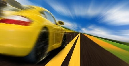 Photo for High-speed motion-blurred auto on rural highway - Royalty Free Image