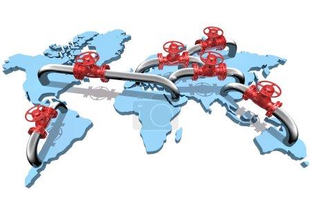 Photo pour Gazoducs rendus 3D sur la carte du monde - image libre de droit