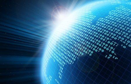 Photo pour Code binaire sur une surface d'une planète - image libre de droit