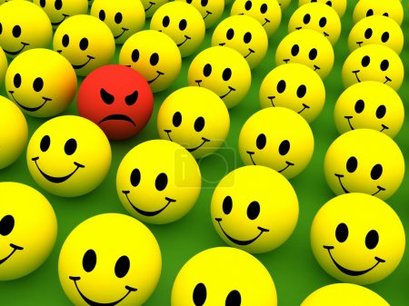 Photo for Colourful smilie icons representing different emotions and expressions - Royalty Free Image