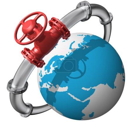 Photo pour Pipeline rendu 3D avec globe sur blanc - image libre de droit