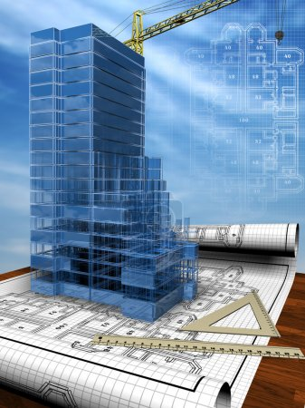 Photo for Conceptual image of the house blueprint - Royalty Free Image