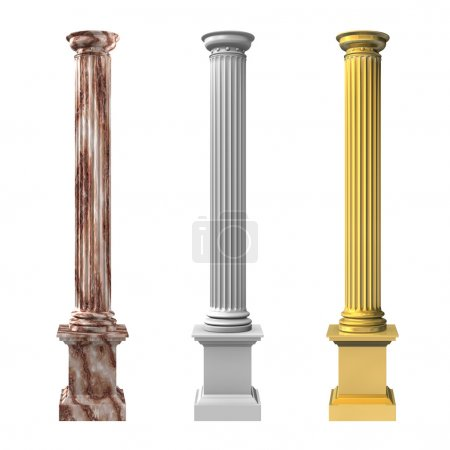 3d rendered illustration of three column