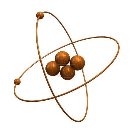 3d Helium Atom in wood