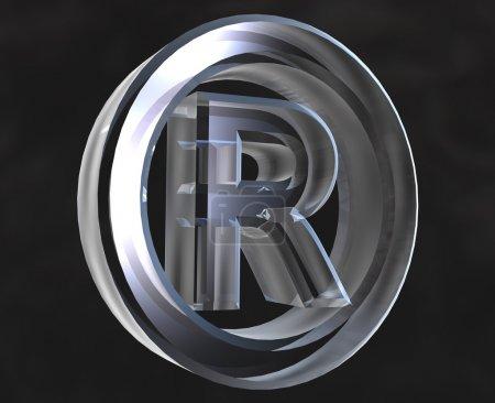 Symbole enregistré en verre (3d )