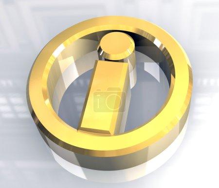 Photo pour Symbole de l'info en or (3d faite) - image libre de droit