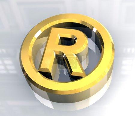 Symbole enregistré en or (3d )