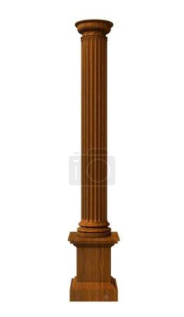 3d illustration of a wood column