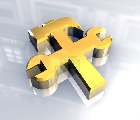 Industrial working symbol in gold (3d)