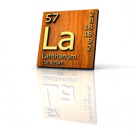 Lanthanum form Periodic Table of Elements - wood board