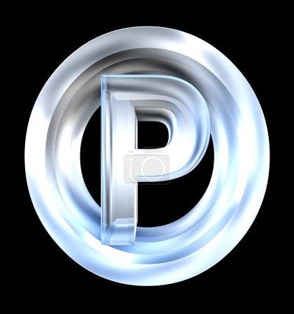 Símbolo de estacionamiento en vidrio (3d )