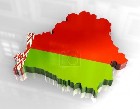 Photo pour 3d fait - carte drapeau de belarus - image libre de droit