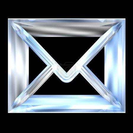 Envelope email symbol in glass (3d)