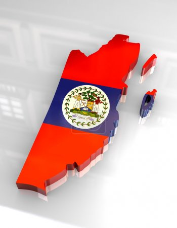 3d flag map of Belize