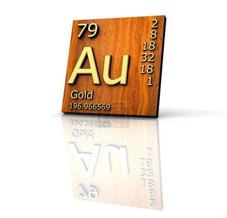 Gold form Periodic Table of Elements - wood board