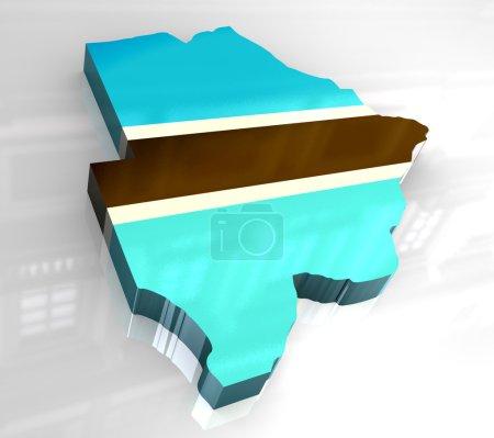 3d flag map of botswana