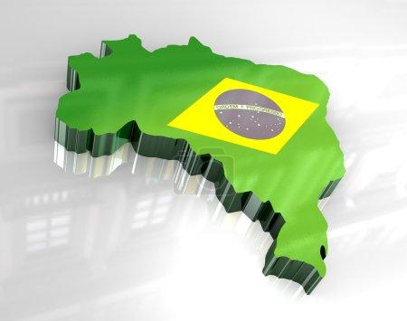 3d flag map of brazil