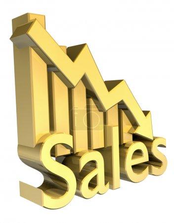 Photo pour Statistiques de vente graphique en or - 3d fait - image libre de droit