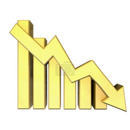 Photo pour Statistiques graphiques en or - 3d fait - image libre de droit