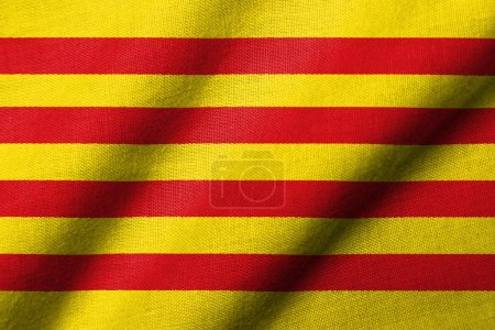 3D Flag of Catalonia waving