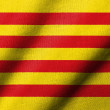 Realistic 3D flag of Catalonia with fabric texture...