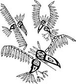 Three Ravens depicted in the style of Northwest Coast Native cultures