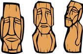 Group of mixed styled Easter Island Moai heads