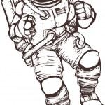 American space suited astronaut in orbit.