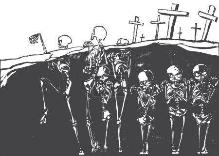 A cemetery in which the skeletons are coming alive...