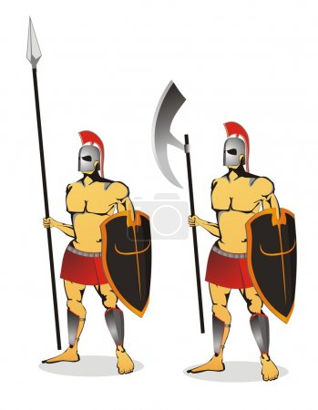 Two ancient soldier isolated