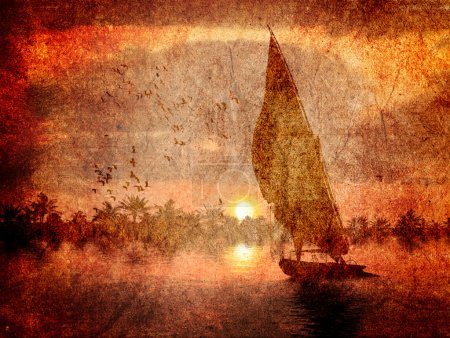 Ancient grungy elements with felucca in the nile with palm trees in the back