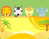 Cute tropical animals banner