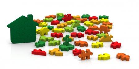 Photo pour Choisissez que le droit puzzle morceaux afin de créer un haute performance énergétique bâtiment - image libre de droit