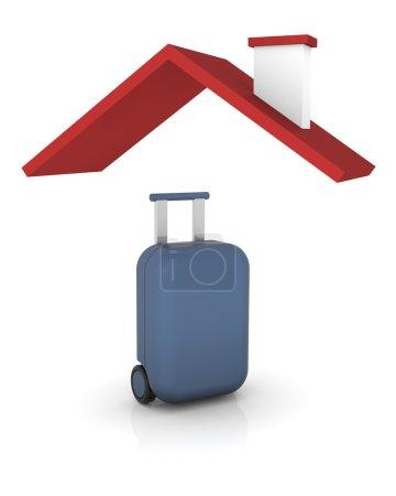 Photo pour Rendu 3D qui représente couvert par une assurance de voyage - image libre de droit