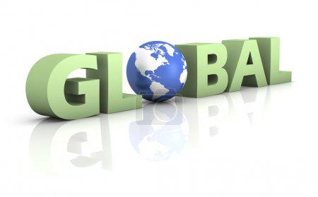 Photo pour Mot vert global avec un globe bleu sur fond blanc. Carte tirée de http : / / visibleearth.nasa.gov - image libre de droit